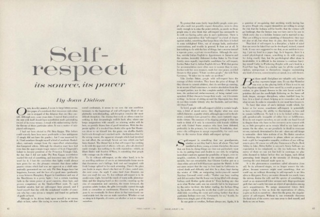 self respect it s in vogue myrainbowmind i a great piece in vogue this week joan didion s seminal essay self respect its source its power first published in vogue in 1961